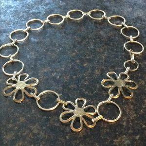 Hippie gold metal flower belt. Vintage